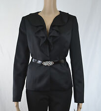 New Kasper Ruffled Sateen Jacket ONLY Belted Size 4 $240
