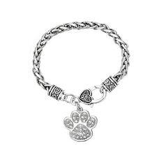 Animal Dog Cat Paw Print Crystal Charm Cute Bracelet Men Women Fashion Jewelry