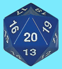 KOPLOW GAMES 55MM OPAQUE BLUE w/ WHITE DIE D20 Jumbo Countdown Life Counter Dice