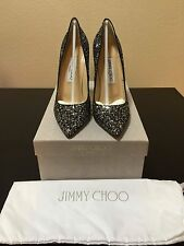 $675 Brand New Authentic Jimmy Choo Silver Anouk Glitter Pumps 120mm Size 36.5