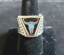 Men's Silver Rhodium Plated Ring Size 10 3/4  Black enamel Faux Turquois