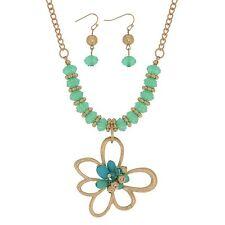"""16"""" Mint Green Bead Gold Flower Pendant Necklace & Dangle Earrings Jewelry Set"""