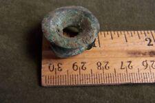"precolumbian earplug-copper-not jade-1""x1/4""-ancient aztec-maya-mescala"