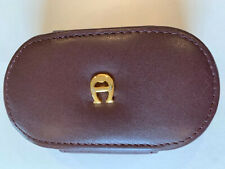 Etienne Aigner Leather Contact Lens Lenses Case with Mirror Cordovan Color