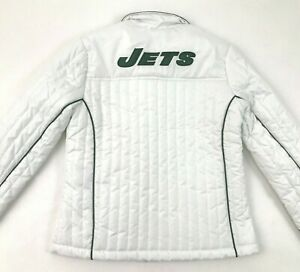 NEW NFL New York Jets Jacket Women Size Small White Puffer Lightweight Insulated