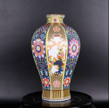 Chinese antiques  Enamel color  Flower and bird pattern  Six corner plum vase
