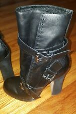 Vero cuoio Black Leather Ankle Boots Size 37 1/2  retails 425 Nearly New