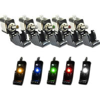 12V 20A Cover LED Light Rocker Toggle Switch SPST ON/OFF Car Marine Boat