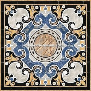 Traditional Marble Outdoor Garden Table Top Marquetry Inlay Italian Decor H5288