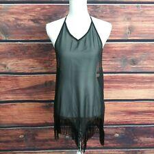 bikini cover up top Black Halter Fringe Open Back Sheer Summer Beach Cove S/M