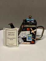 "2001 Kevin Chen Enamel Bronze Hinged Trapezoid Teapot ""Back to School"" with COA"