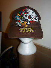 DON ED HARDY BROWN TRUCKER HAT CAP SKULL DICE MONEY CARDS CLOVER WINNER TAKE ALL