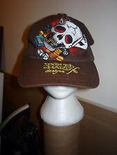 DON ED HARDY BROWN TRUCKER HAT CAP SKULL DICE MONEY CARDS CLOVER WINNER TAKE ALL