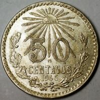 1945 Mexico Almost Uncirculated to BU Silver 50 Centavos Half Dollar Coin