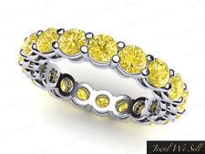 3.30Ct Round Yellow Diamond Gallery Eternity Band Ring 14k White Gold I1 Ladies