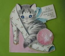 Vtg Rust Craft Mother's Day Card-M. Cooper-Kitten in Pom Pom Shoe-For Daughter