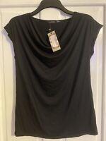Womens Boohoo Maternity Cowl Neck Black T Shirt Size Uk 10