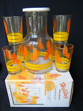 Vintage juice beverage glass set -decanter and six glasses by KIG in org. pkg