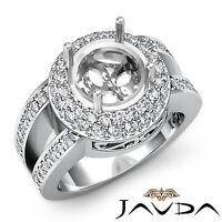 Halo Pave Diamond Anniversary Filigree Ring Platinum 950 Round Semi Mount 1.32Ct