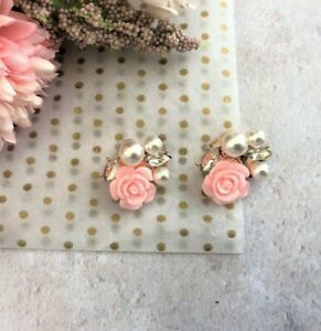 CLIP ON Diamante Stud Earrings Pink flowers with Faux Pearls Gold plated 3 cms