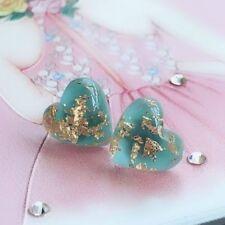 Simple Women 925 Silver Stud Natural GEMSTONE Heart Shape Turquoise Earrings