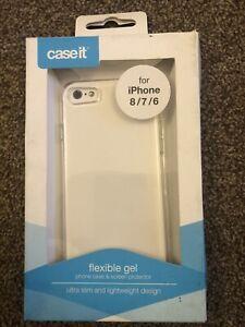 Caseit Clear Flexible Gel Iphone 6 7 & 8 Case & Screen Protector ultra Slim NEW!