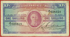GOVERNMENT OF MALTA ND(1943) ONE SHILLING (PICK#16) VF