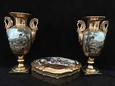 FRENCH 19C EMPIRE PAIR OF HAND PAINTED PORCELAIN URN & TRINKET BOX