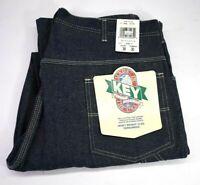 Vintage NOS Key USA Made Dark Washed Cotton Denim Dungarees Carpenter Jeans 12oz