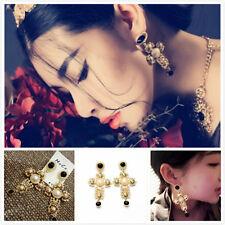 Fashion Women Gold Plated Long Cross Pearl Dangle Earrings Ear Stud Jewelry Gift