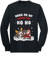 Wake Me Up Before You HO HO Santa Sloth Xmas Toddler/Kids Long sleeve T-Shirt