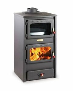 Wood Burning Stove Solid Fuel Burner with Oven Cast Iron Top 8,4kw Heating Power