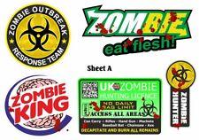 Funny Novelty Zombie Apocalypse zombies Car Sticker Decal Set Sheet A4 Size (A