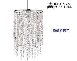 Annette 3 Tier Acrylic Bead Droplet 45 cm Long Ceiling Light Pendant Easy Fit