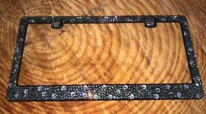 Gray BLACK DIAMOND Crystal Bling License Plate Frame made with Swarovski element