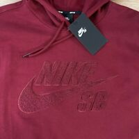 Nike SB Dunk Pro Icon Skateboard Hoodie AT3414 677 Skate Red Maroon Mens LARGE