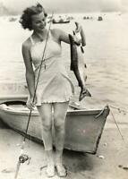 Vintage Fishing Photo ... Woman Holding Large Trout ... Photo Print 5x7