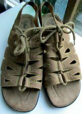 Cobbie Cuddlers 9.5 W Wide Mazie Brown Suede Leather Gladiator Sandals Lace Up