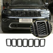 Front Grille Cover Inserts Trim For Jeep Grand Cherokee 2017-19 ABS Carbon fiber