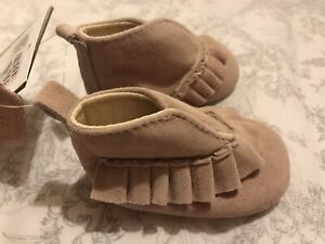Mamas And Papas Pink Suede Leather Shoes Baby Girl 0-3 Months BNWT £19