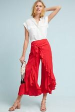 Anthropologie Ruffle-Wrapped Pants, Red Wide-Leg Crops By Feather Bone Size 12
