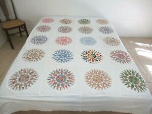 """Vintage Hand Pieced Feed Sack & Other Cottons SUNBURST Quilt TOP 88"""" x 74"""" Good!"""