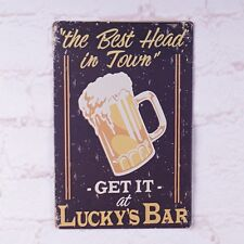 Vintage Tin Sign Lucky's Bar Metal Poster Bar Pub Shop Decoration