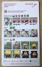 Austrian Airlines Boeing 737-800 Safety Card Rev. 1 Neu Top