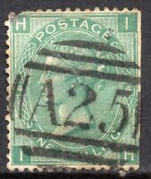 1867 Sg 117 1s green 'IH' Plate 4 with A25 Malta Duplex Cancellation