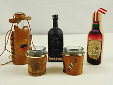 South America Souvenir Mini Liquor Bottles and Shot Glasses Leather Cloth Cover