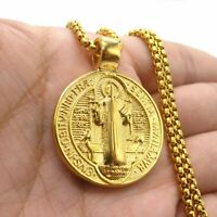 MENDEL St Saint Benedict Medal Gold Exorcism Pendant Necklace Stainless Steel