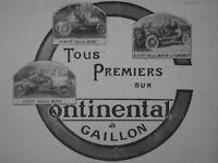 PUBLICITÉ DE PRESSE 1907 TOUS 1er SUR PNEUS CONTINENTAL BENZ MORS A GAILLON