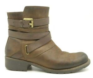 Clarks Brown Leather Wrap Buckle Zip Up Ankle Boots Shoes Men's 7 E