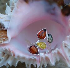Baltic Amber Multi Color RING size 6 Sterling Silver TGW 6.50 cts.